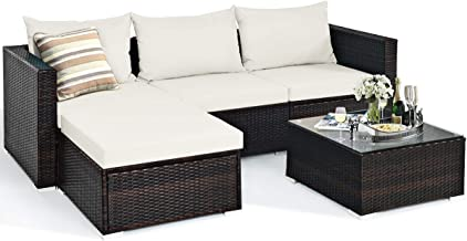 Tangkula 5 Piece Outdoor Patio Furniture Set, Sturdy Frame and Weight Capacity Up to 360 Pounds, Wicker Sectional Sofa Set...