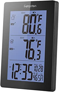 Fetanten Digital Wireless Indoor Outdoor Thermometer, Wireless Clock Calendar Thermometer with 5.7 Inch Weather Station Backlight Large LCD-Display and Double Alarm Clock Design(RT001)