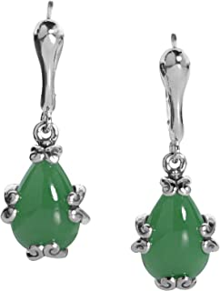 Sterling Silver Blue or Green Jade Gemstone Drop Earrings