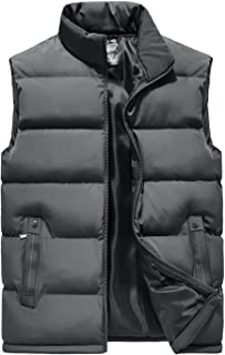Mens Casual Slim Sleeveless Thicken Quilted Padded Zipper Puffy Vest Coats
