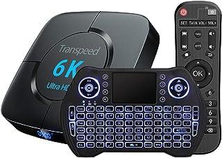 TV Box Android 9.0 Smart TV Box Set Top Box 4GB RAM 32GB ROM with Backlit Wireless Mini Keyboard USB 3.0 Ultra HD 4K 6K HD...