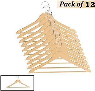 Ivaan Unbreakable Plastic Suit Clothes Hanger for Wardrobe, Wooden Design, 12 Pieces Set