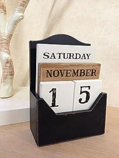 PerGrate Calendario perpetuo in Legno a Forma di Cuore con Fiocco