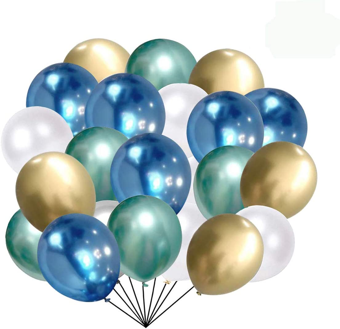Blue and Gold Metallic Chrome Latex Balloons, 50pcs 12 Inch Green Metallic Balloons White Latex Party Balloons for Bridal Shower Wedding Birthday Graduation Valentine's Day Party Decoration