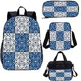 Juego de mochilas escolares marroquíes de 17 pulgadas, diseño de mosaico portugués 4 en 1