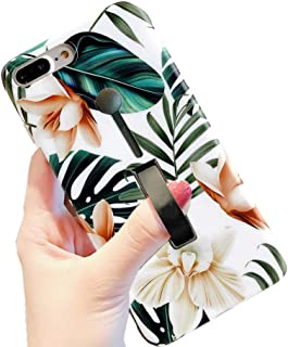 iPhone 8 Plus Case Finger Grip,3D Embossed Green Leaves with White & Brown Flowers Design Rugged Shockproof Slim Fit Dual Layer Finger Ring Loop Strap Case Finger Strap for iPhone 7/8Plus (7/8 Plus)
