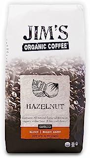 Jim's Organic Coffee – Hazelnut, All Natural Flavored Blend – Light Roast, Ground Coffee, 12 oz Bag