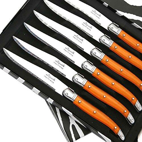 Coffret de 6 Couteaux à steak Laguiole ABS de couleur orange