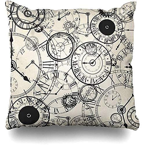 GodYo Kussensloop, 1 pak vintage clock potlood, bedrukking, kussensloop, sofa cute