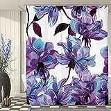 SVBright Purple Floral Botanical Wildflowers Shower Curtain Flowers 60Wx72L Inch Elegance Rustic Nature Plant 12 Pack Hooks Polyester Waterproof Fabric Bathroom Bathtub Panels