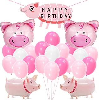Kreatwow Pig Birthday Party Decorations Supplies Walking Pig Balloons Happy Birthday Banner for Birthday Baby Shower