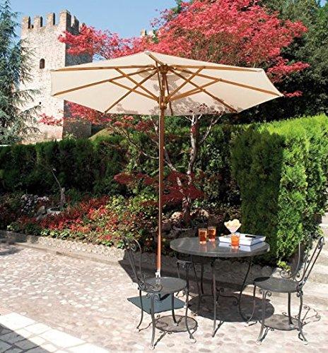 Sonnenschirm–Palladio Rechteck 3x 4m Acryl Dralon 350g/m2+ Sockel zu Dalles Stahl–15kg Ecru A1