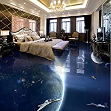 Mznm Foto Piso 3D Personalizado Anti-Deslizamiento De Humedad Baño Wallpaper Murales Galaxy Earth 3D Sala De Estar Piso-280X200Cm