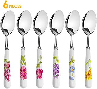Dinner Spoons Set, Elegant Life 6-Piece Handle Ceramic Stainless Steel Cutlery Spoons Set, Great Soup Spoons, Use for Home, Kitchen, or Restaurant, 8.3 Inches