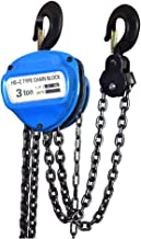 3 Ton 6000Lbs Capacity Manual Hand Engine Lever Block Chain Hoist Pulley Tackle Hoist Winch Lift W/Hook, 10FT Lift, Heavy Duty Alloy Steel, Red (3 Ton)