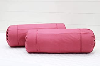 AURAVE Excel Cotton 2 Pieces Plain Bolster Cover Set - 16 X 32 inches, Magenta