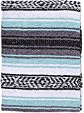 El Paso Designs - Mexican Yoga Blanket - Colorful Falsa Serape - Camping, Picnic, Beach Blanket, Bedding, Car Blanket, Saddle Blanket, Soft Woven Home Decor (Cool Mint & Gray)