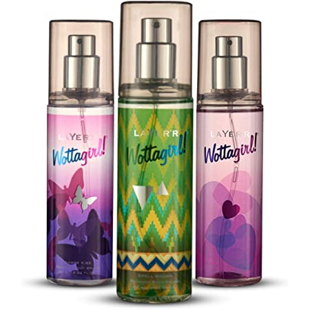 LAYER`R, Wottagirl Secret Crush Spell BoundAmber Kiss Body Spray For Women, aquatic citrus; floral, 180 millilitre