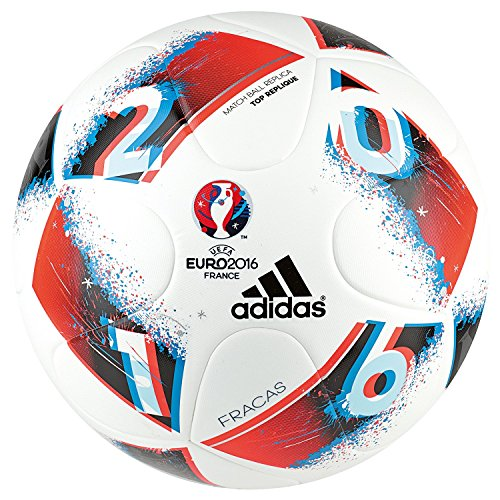 adidas Euro16 Fracas Top Replique Fußball, White/Bright Blue/Solar Red/Silver Metallic, 5