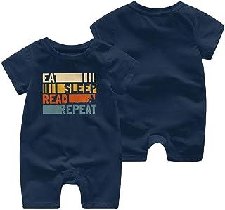 "RROOT Baby-Body mit Aufschrift ""Eat Sleep Read Repeat"", kurzärmelig, 0-24 Monate"