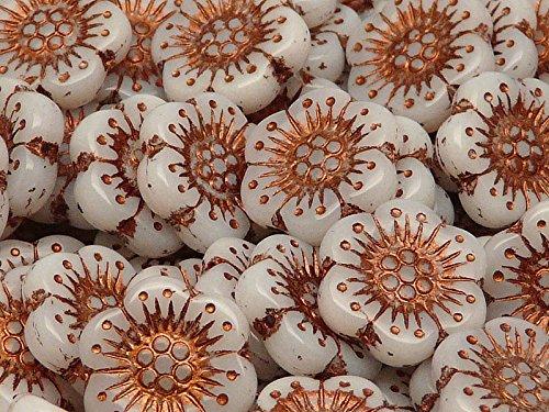 4pz Flower Beads - Pressate Perle di Vetro ceche in Forma di Fiore 18mm, Un Foro, White Alabaster with Bronze Fired Color