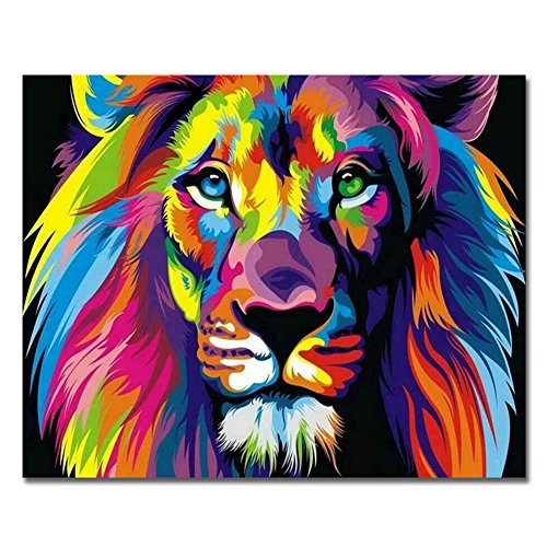 Sin Marco, Pintura por números Bricolaje DIY Pintura al óleo Vistoso león Impresión de la Lona Mural Decoración hogareña por Rihe