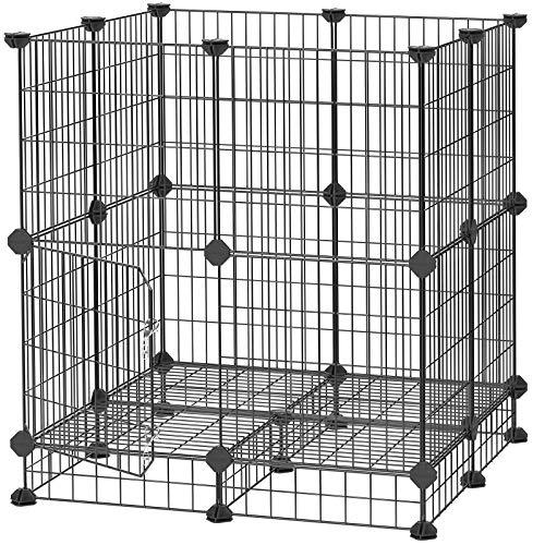 SONGMICS Meerschweinchen-Käfig, mit Tür, Metallgitter-Käfig für Kleintiere, DIY, Freigehege, Laufstall für den Innenbereich, Meerschweinchen, Welpen, Kaninchen, mit Gummihammer, schwarz LPI03H