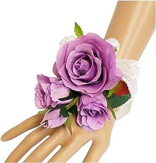 Wrist Corsage(XLWC003-RSLV)-Beautiful Quality Keepsake Wrist corsage-roses and pearl bracelet (Lavender)