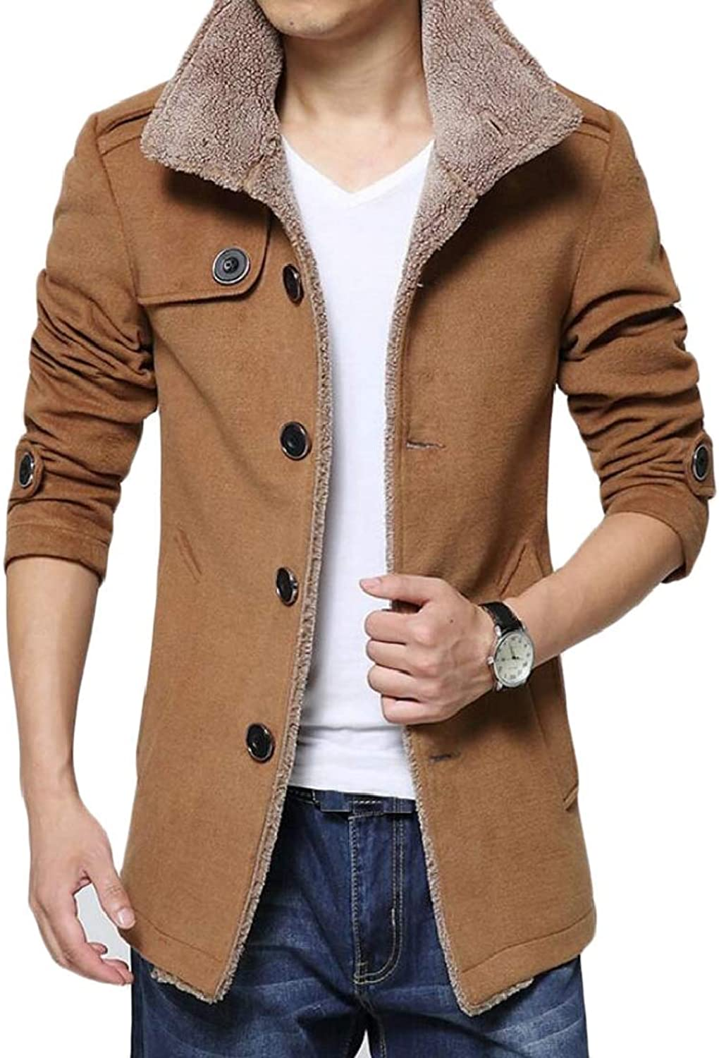 XQS Men's Casual Mid Long Faux Fur Lined Stand Collar Thicken Trench Coat