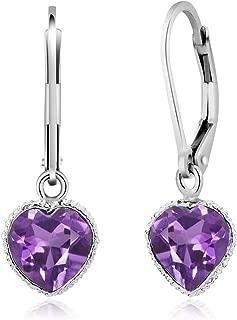 Gem Stone King 925 Sterling Silver Amethyst Heart Shape 6.00 Ct Gemstone Birthstone Dangle Earrings 10X8MM