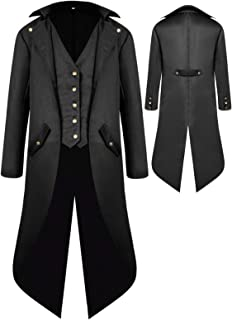 Halloween Costumes Tailcoat for Boys, Kids Steampunk Jacket Gothic Cosplay Long Coat Victorian Tuxedo Uniform