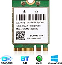 BCM94360NG 802.11AC 1200M NGFF M.2 2230 wifi card for mac OS BCM94360CS Wireless Card original M.2 card for macOS Plug and Play for AirDrop Continuity Handoff Better BCM94352Z DW1560 for Intel NUC