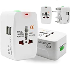 Mysail Universal Adapter Worldwide Travel Adapter with Built in Dual USB Charger Ports with 125V 6A, 250V Protected Electrical Plug (White)