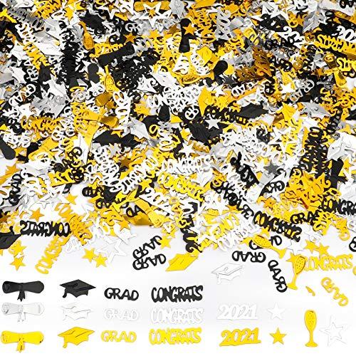 Konsait Graduation Confetti (2.2OZ) for Graduation Party Supplies Decorations Grad Party Accessories Grad, Congrats, Diploma, Star, Cap, Goblet, 2020 Gold Black Silver Mix Grad Confetti