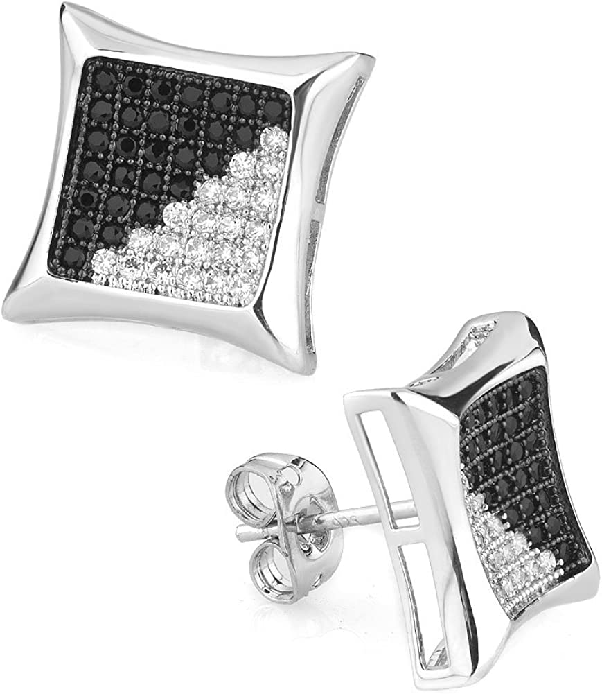 JewelryHouse Square Grid Stud Three-dimensional Earrings for Women Girls