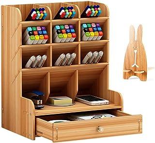 Organiseur de bureau en bois grande capacité, boîte de rangement de bureau pour papeterie à tiroir multifonctionnel porte-...