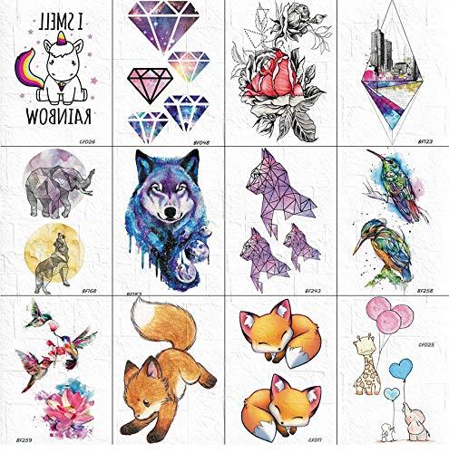 Adesivi Per Tatuaggi Di Colore Ad Acqua Braccio Per Donna Galassia Cani Diamante Tatuaggi Temporanei Per Bambini Torace Per Il Corpo Widget Per Bambini Tatto Flash Fox 10 * 6Cm 12 Pezzi