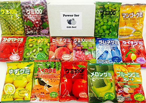 Kasugai Gummy Party Pack 15x3.59 oz (15 Bags At least 10 Flavors), Flavors picked from Lychee, Mango, Peach, Strawberry, Grape, Kiwi, Melon, Pinapple, Apple, Watermelon, Lemon, Ramune. Flavors may be different from Pictured, picked randomly upon availiability