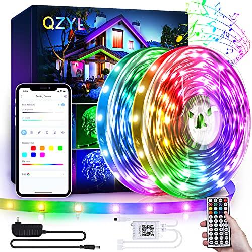 Led Lights for Bedroom, QZYL 80FT Led Lights with App Control, Music Sync Color Changing RGB Led Light Strips, Led Strip Lights with 44 Keys IR Remote, Lighs for Bedroom, Living Room, Kitchen Decor