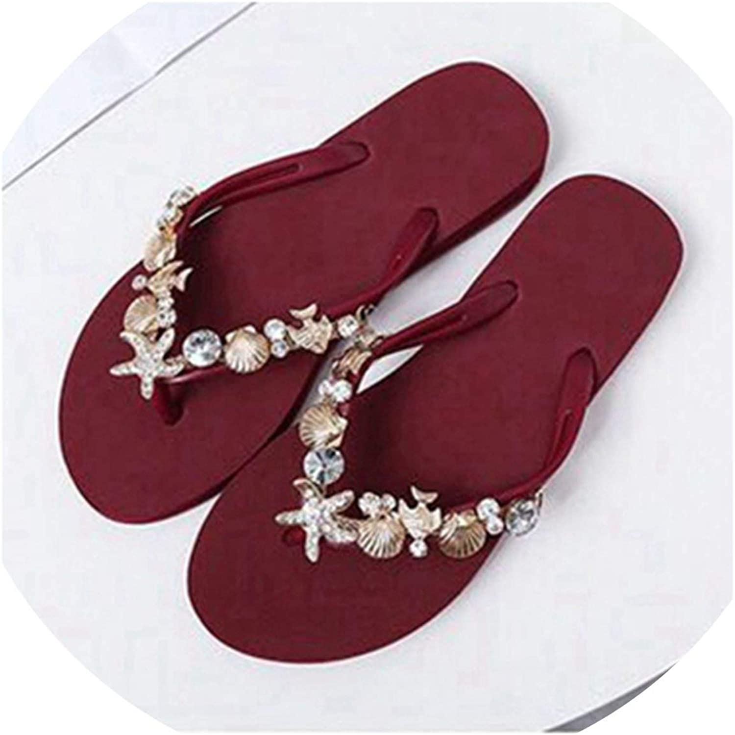 Threeflower Women Beach Slippers Rhinestone Crystal Flip Flops Home Outside Slipper Women Flat Sandals