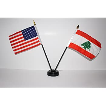 "Amazon.com : US USA American and Lebanon Lebanese 4""x6"" Miniature ..."