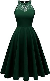 Bbonlinedress Women`s Halter Lace Bridesmaid Dress Short Prom Party Cocktail Swing Dress