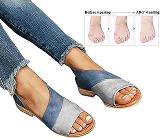 Mujer Verano Sandalias Cuero de PU Zapatillas Corrector de juanetes ortopédico Casuales Antideslizante Respirable Zapatos ortopédicos