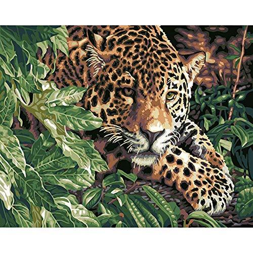 XiAOBAOZISZYH schilderen op cijfers voor volwassenen, luipaard, geel na bladeren, 16 × 20 inch, pre-gedrukt canvas met kwast en pigmenten, acryl Geen frame