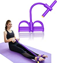 YUESUO Pedal Resistance Band, 4 Tube Pedal Ankle Puller Multi-Function Leg Tummy Training Foot Sit-Up Pedal Elastic Pull R...