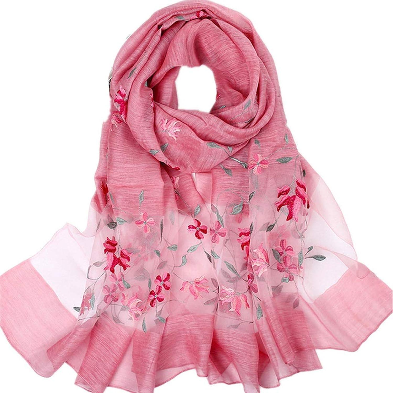 UltraThin Lady Women Fashion Silk Scarf Luxury Hangzhou Long Soft Embroidery Flower Vine Shawl Sarong Wrap Female Scarves (color   Pink)