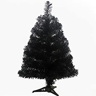 MOJUN Artificial Christmas Tree with Plastic Stand Holder Base, 60cm/2-feet, Black