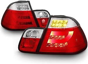 VIPMOTOZ Red Lens Premium OLED Neon Tube LED Tail Light Housing Lamp Assembly For 2002-2005 BMW E46 3-Series LCI Sedan Driver and Passenger Side Replacement