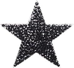 5 piezas negro brillante Crystal estrellas bordadas parches con hierro en rhinestone parche para la ropa etiqueta insignia pasta para celular bolsa pantalones ropa