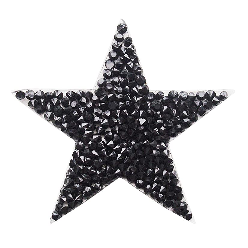 5 pcs Black Star Patches with Rhinestone Embroidered Iron On Patch for Clothing Sticker Badge Paste for Clothes Bag Pants Cellphone